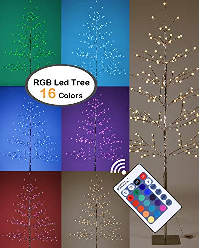 (Lightshare 6 ft. Lighted Tree - Northern Lights Pre-lit Tree with 198 LED Lights, Silver Finish, RGB With Remote Control, Starlit Snowballs and Iceballs, Ideal For Holiday Decor, Party, Wedding)