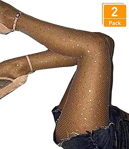 Women's 2 Pair /3 Pair Sparkling Fishnet Stockings Rhinestone High Waist Tights Crystal Mesh Hollow Out Pantyhose (Nude,Small Hole-2 Pair, One Size) -