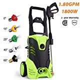 Homdox HX4000 Electric Pressure Washer, 1800W High Power Washer Cleaner Machine W/ 5 Nozzles,Total Stop System, Rolling Wheels,1.80GPM
