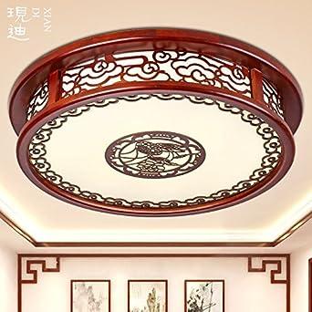 SL Europischen Stil Deckenleuchten Fernbedienung Dimmer Runde Chinesische Feste Holzdecke Schlafzimmer Lampe Chinesischen Wohnzimmer