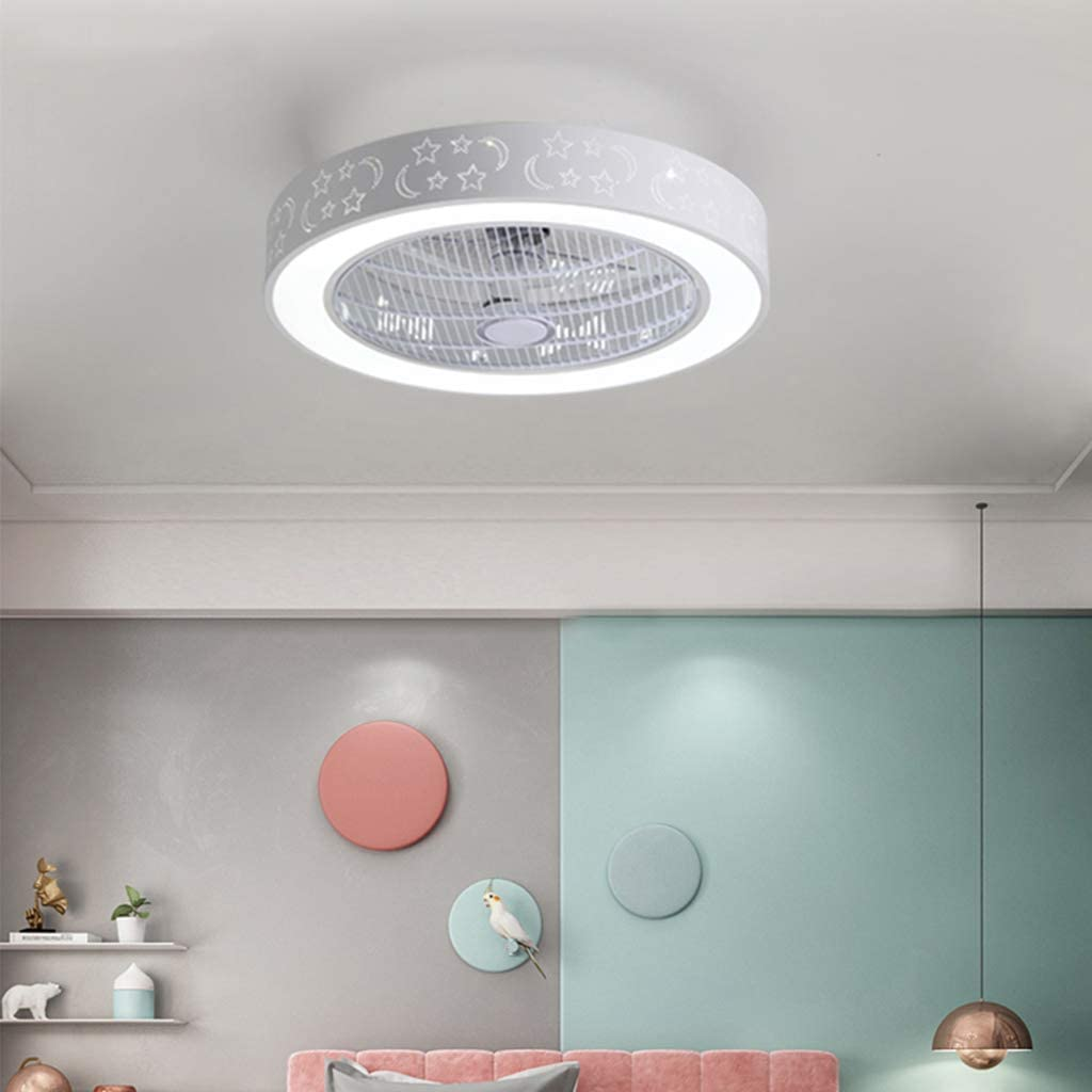 White Ceiling Fan with Lighting LED Modern Fan Lamp /Ø50CM 3-Color Temperature Adjustable Wind Speed Remote Control with Ultra-Quiet Living Room Bedroom Fan Ceiling Light 72W