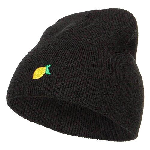 e4Hats.com Mini Lemon Embroidered Short Beanie - Black OSFM (E4hats Lightweight Beanie)