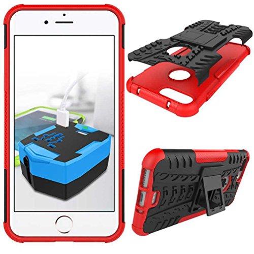 """5.5"""" iPhone 7 Plus Coque, AOFad Case Protection des lourds Béquille Soft Feel rouge Plastique Vidéo Dazzle Accessoires Série Pour Femme Homme L265"""