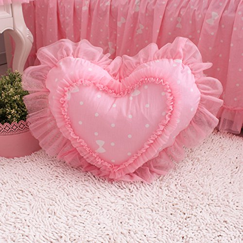 KEPSWET Sweet Heart-shaped Pattern Cotton Lace Polka Dot Design Pillows Cozy Sofa Bed Princess Pillows Decorative Pillows Romantic Pink Red Cushion Office Pillow (17.7