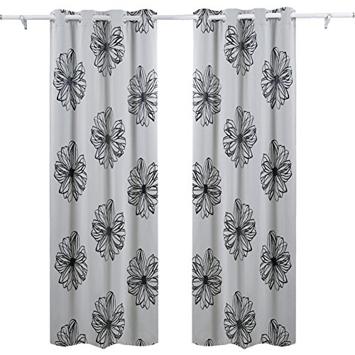 Deconovo Foil Print Flower Design Thermal Insulated Bedroom Window Blackout Curtain 52x63 Pair,Grey - Pair Thermal Polyester Curtains Insulated