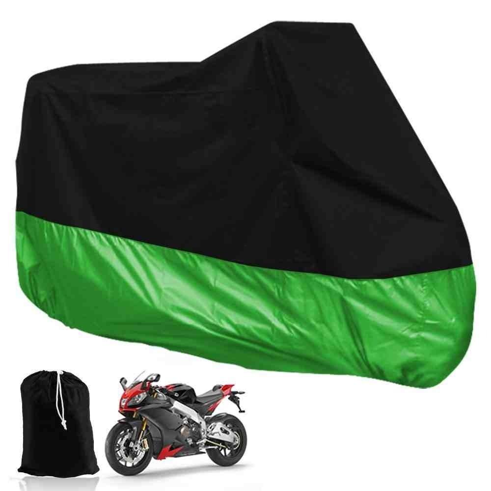 DeliaWinterfel XXL Motorcycle Folding Tarpaulin For Garage Outdoors Waterproof Black and Green- With Pocket, 265 x 105 x 125cm