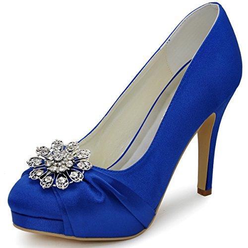 ElegantPark EP2015 Women Pumps Closed Toe Platform High Heel Buckle Satin Evening Prom Wedding Dress Shoes Blue US - Platform Satin Blue