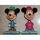 Disney Holiday Treasures Upper Deck 2004 Figurines Pair Featuring Mickey & Minnie Mouse from