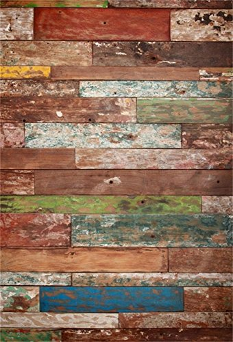 AOFOTO 5x7ft Shabby Wood Floor Backdrop Vintage Hardwood Wall Photography Background Toddler Kid Baby Boy Newborn Artistic Portrait Retro Photo Shoot Studio Props Video Drop Vinyl Wallpaper (Hardwood Wall)