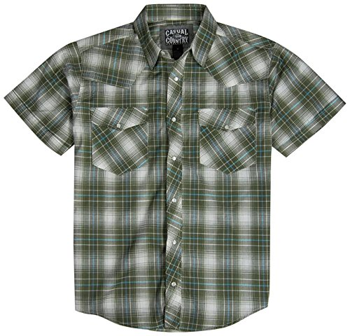 Men's Classic Plaid Short Sleeve Casual Western Shirt; Pearl Snap Front (Large, Olive)