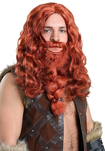 [Adult Red Viking Wig and Beard Set Standard] (Marvin The Martian Halloween Costume)