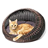 wicker pet bed D+GARDEN Wicker Cat Bed for Indoor Cats - a Covered Modern Cat Hideaway Hut of Rattan Houses Pets in Dome Basket, Washable