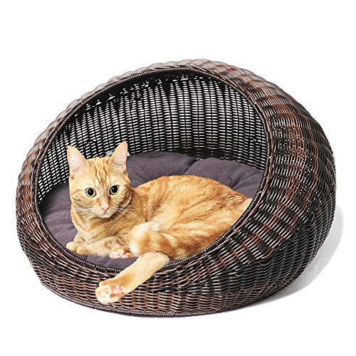 D+GARDEN Wicker Cat Bed for Indoor Cats - a Covered Modern Cat Hideaway Hut of Rattan Houses Pets in Dome Basket, Washable