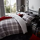 Catherine Lansfield Home Tartan 100% Brushed Cotton Flannelette Duvet Cover Set, Grey, Double