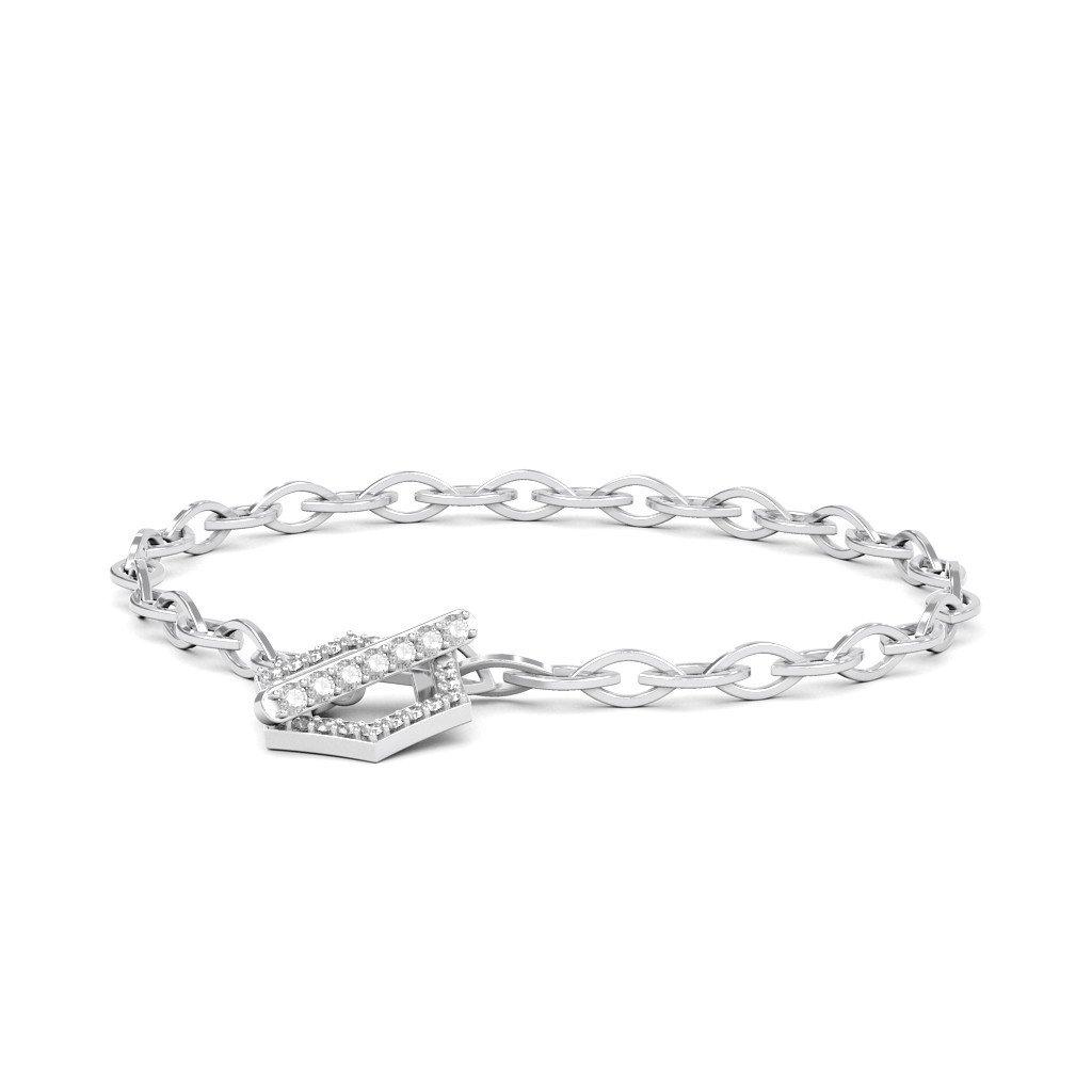 18K White Gold 8 inches 0.512 cttw Round-Cut-Diamond identification-bracelets Size IJ| SI