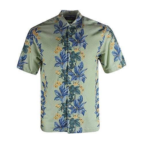 Blank&Black Men's Woven Short-Sleeved Shirt Green Base Blue Flower ()