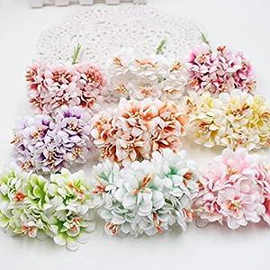 GSD2FF 6pcs Silk Gradient Stamen Artificial Flower Bouquet for Wedding Decoration DIY Decorative Wreath Fake Flowers,Red 2