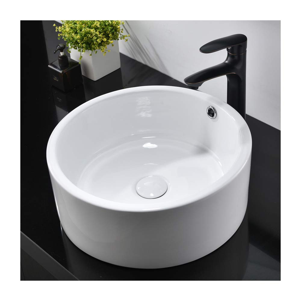 Hotis White Porcelain Ceramic Countertop Bowl Lavatory Round Above Counter Vanity Bathroom Vessel Sink