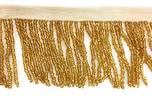 (2 inch Long Gold Seed Beaded Fringe Trim by 2-Yards- Beaed Gold Fringe)