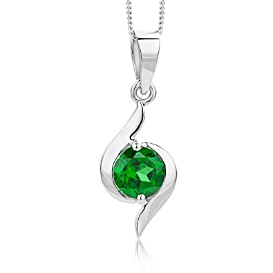 Miore Ladies 9kt White Gold Emerald Necklace of Length 45cm hs1gpIdSB