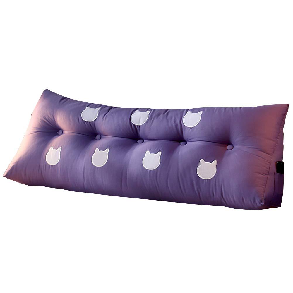 B07KN6DWVD クッションベッドの背もたれベッドルームホームソフトケース三角枕ダブル人物エクストララージベッドは、バックレストクッションウォッシャブルを読む布、4サイズ、6色 180x22x50cm) LIANGLIANG (色 Purple Purple, さいず : : 180x22x50cm サイズ