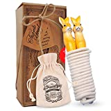 aGreatLife Adjustable Jump Rope for Kids and Adults: Lightweight and Tangle-free Cotton Skipping Rope with Hand Carved Rabbit Wooden Handles - With Non-slip and Comfortable Grip - Great For Games and Exercise