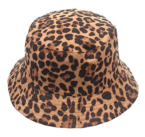 Leopard Print Bucket HatLepord Print Bucket Hat Trendy Animal Pattern Fisherman Hats for Women Reversible Packable Cap (Brown)
