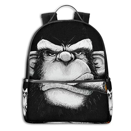 Monkey Cigar Gorilla Smoking Cigarette 14.5 Inch Business Laptop Backpack Water Resistant Anti Theft College Knapsack Ultra Thin And Durable Casual Hiking Travel Daypack
