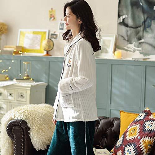 164cm Coral L158 30 Plus Cardigan Service Home Sweet Pajamas 50kg 57kg Winter Thickening Fleece Women's Pajamasx Stripe Velvet 47 Warm Set 162cm M150 Zqtpan
