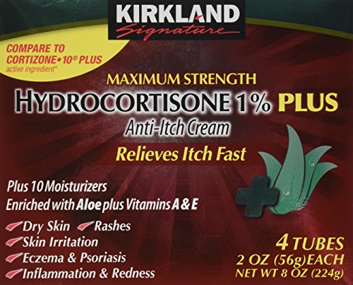 Kirkland Hydrocortisone %1 Cream 4 Tubes 2oz Each