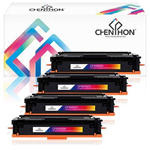 ChenPhon Compatible Toner Cartridge Replacement for Upgraded Version HP202X CF500X CF501X CF502X CF503X Work with Laserjet Pro M254dw MFP M281fdw MFP M281cdw -4 Pack ()
