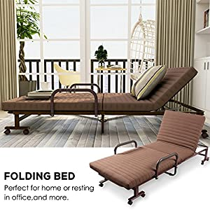 ONXO Folding Sofa Bed Chaise Lounge Chairs Adjustable Guest Bed Rollaway Metal Bed with Mattress and Pillow