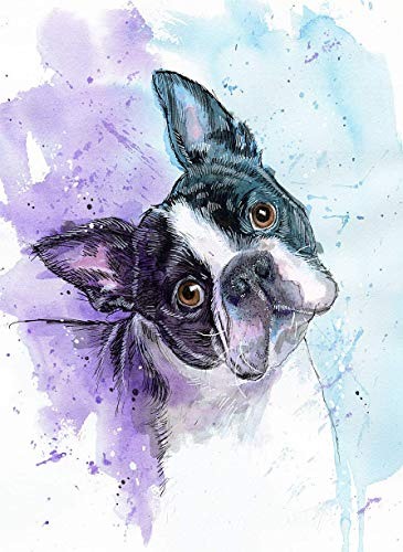 Boston Terrier Watercolor Art Print of Original Painting, Pet Themed Party Nursery Home Wall Decor, Gift for Dog Mom, Dad, Parent; Rainbow Bridge Pet Loss Sympathy Housewarming Memorial Gift
