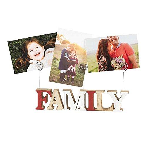 Family Block Letter 6 x 3 Wood Photo Clip Holder ()