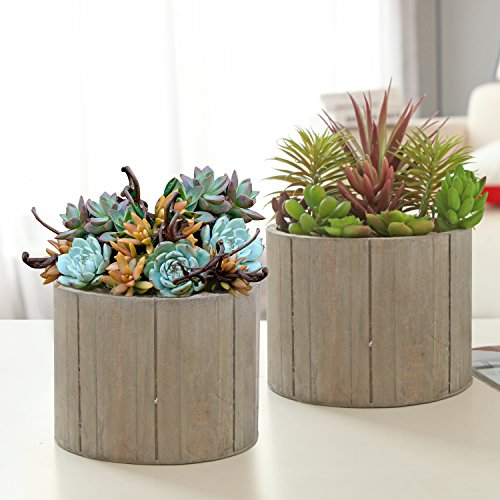 Wood Pot (7 Inch Rustic Wood Planters, Round Flower Pots with Plastic Lining, Set of 2,)