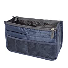 uxcell® Cosmetic Makeup Storage Insert Purse Organizer Pouch Bag Navy Blue