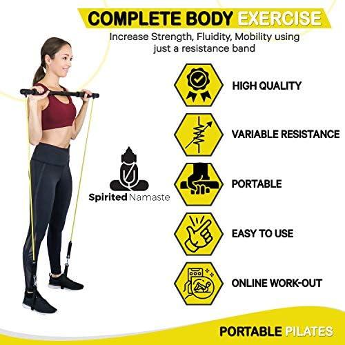 Spirited Namaste – Kit de entrenamiento portátil para pilates/yoga, barra corporal y palo para tonificar el hogar con 3 bandas de resistencia: accesorios, bandas de entrenamiento de suspensión con correa para el pie y banda de gimnasio de pilate 8