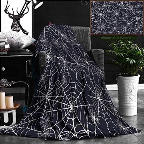 Nalagoo Unique Custom Flannel Blankets Spiderweb Halloween Texture Seamless Pattern Super Soft Blanketry for Bed Couch, Throw Blanket 70