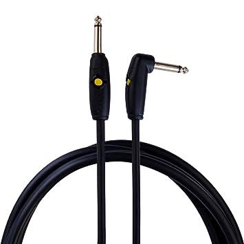 Rayzm Cable de Guitarra Circuit Breaker - 3 metros SIN RUIDOS, para Guitarra/Bajo, conectores dorados 6.5mm Macho TS Mono recto y en ángulo.