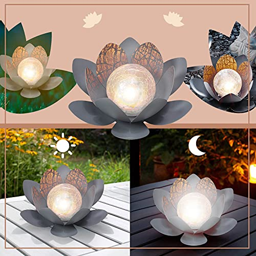 Ymibull Solar Lamp Garden Lighting Flower Decaration Solar Flowers Warm White Dreamlike Solar Lotus Light Gardening Outdoor