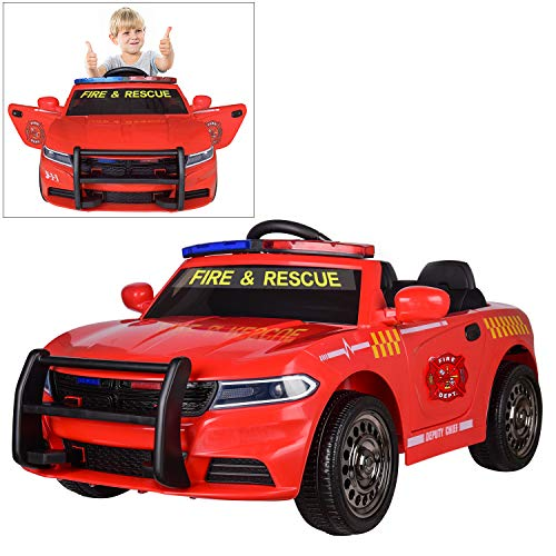 12V Fire Dept. Chief Officer Electric Ride On Car for Kids with 2.4G Remote Control, Siren Flashing Light, Intercom, Bumper Guard, Openable Doors]()
