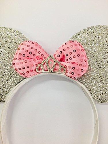 Pink Princess Rhinestone Tiara Minnie Mouse Ears/Pink Disney Princess/Princess Minnie Ears/Tiara Minnie Ears