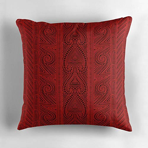 - Kidmekflfr Maori Tribal Pattern The Whakairo Art of Carving Square Decorative Cushion Cover Soft Cotton Outdoor Throw Pillow Case Cover for Sofa Bedroom Home Office Car 18x18 Inch