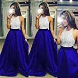 Auwer-Dress 2018 USA Women Formal Prom Cocktail Party Ball Gown Evening Bridesmaid Long Dresses (S, Blue)