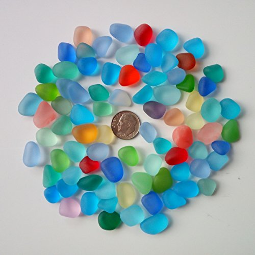 Sea Glass Beads / Beach Glass Beads For Jewelry Making ( Big Size / 12-16 mm, Multicolored Rainbow Mix, Not Drilled ) (20 pieces) (15 Piece Mix)
