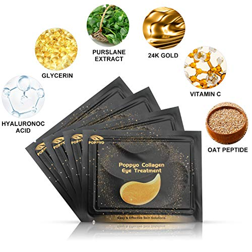 514Mcs61k9L - Under Eye Patches, POPPYO 24K Gold Eye Treatment Mask, Collagen Eye Mask, with Anti-aging and Wrinkle Care Properties, Reducing Dark Circles Puffiness Undereye Bags(30 Pairs)