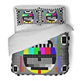 SanChic Duvet Cover Set Tv Test with Rainbow Multi Color Bars and Geometric Signals Technological Retro Hardware From the 1980S Decorative Bedding Set with Pillow Sham Twin Size