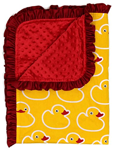 Dear Baby Gear Deluxe Baby Blankets, Cotton Rubber Duckies Red Minky, 38 Inches by 29 Inches