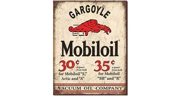 GARGOYLE MOBILOIL Vacuum Company Sign Tin Vintage Garage Bar Decor Old Rustic