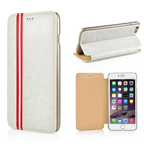 """Apple iPhone 6 6S 4.7"""" Wallet Case Book Streifen Style Luxury Stripe Neu Weiß"""